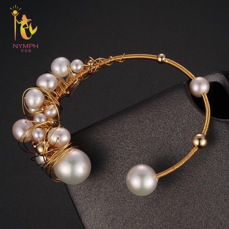 NYMPH Freshwater Pearl Bracelets Fine Jewelry Near Round Natural Pearl Bangles For Women White Trendy Anniversary Gift [S303] [zhixi] freshwater pearl necklace fine jewelry white real pearl necklace near round 7 8mm 45cm anniversary gift for women x118