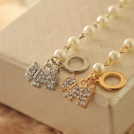 Полностью маленький имитация жемчуга Блестящий Кристалл Золотой Серебряный кулон собаки браслеты из бисера для женщин