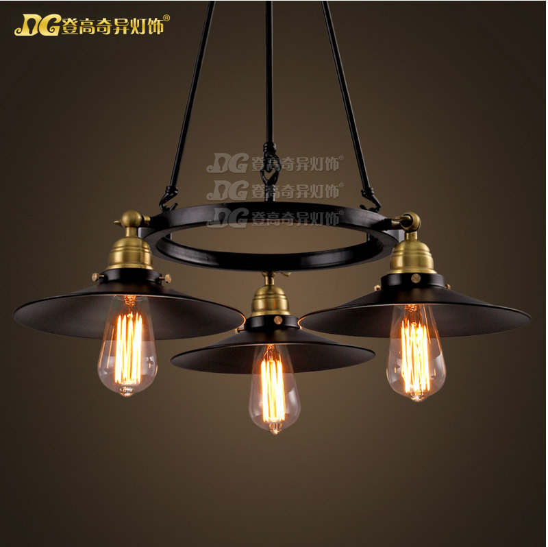 American Retro Industrial 3 Lights Dining Room Chandelier Loft Restaurant Decoration Light Study Light Free Shipping