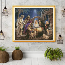 The Birth of Baby Jesus Patterns, Aida Canvas Cross Stitch kits,Embroidery Needlework Set,Home Decoration Send Accessory Tools(China)