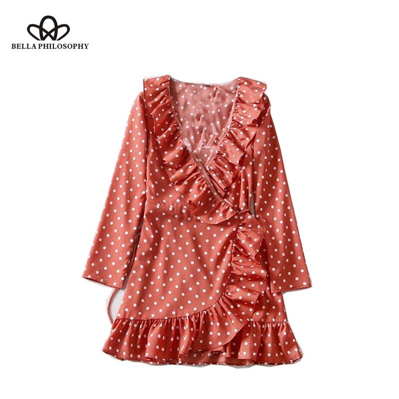Bella Philosophy 2018 summer France elegant dot print women dress long sleeves ruffle lace up ladies vestidos sexy shirt dress|Blouses & Shirts|   - AliExpress