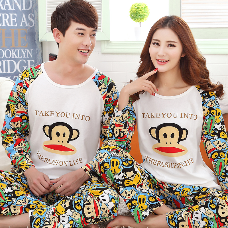 Spring lovers sleepwear long-sleeve 100% cotton cartoon young girl plus size male lounge - Adoel zheng's store
