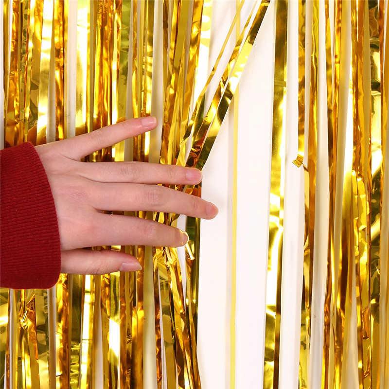 Металлические блестки из фольги бахрома занавес Свадьба/День рождения украшения фон Блестящий Фон занавески приборы для декорации