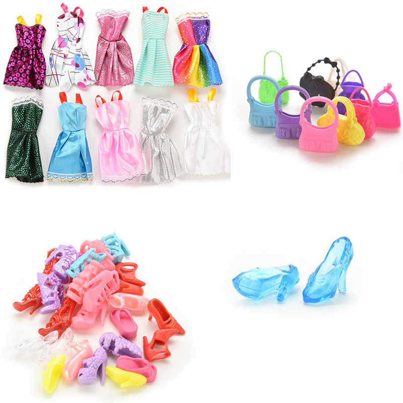 Doll Accessories 10x Mix Fashion Cute Dress/40Pcs Fashion Jewelry Necklace Earring/10x bags/12 Pairs Dolls Shoes For girl Doll