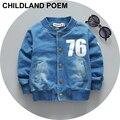 Letra de la manera muchacho de los cabritos faux abrigo chaqueta de mezclilla ropa de bebé niños primavera bebé recién nacido ropa de los muchachos niños Chaquetas abrigos Outwear