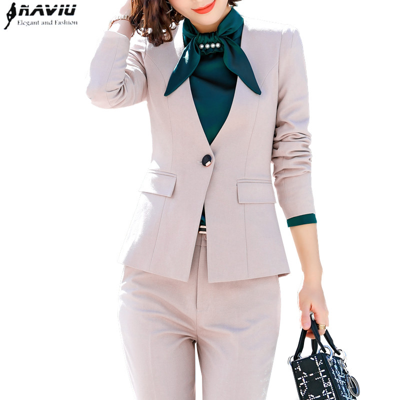 2019 Spring fashion Formal interview Pants suits OL long sleeve sim blazer and pants office lady