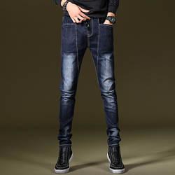 Осень-зима Junior джинсы Для мужчин тонкий нижние эластичные Для мужчин джинсы Для мужчин прямо на осенние штаны