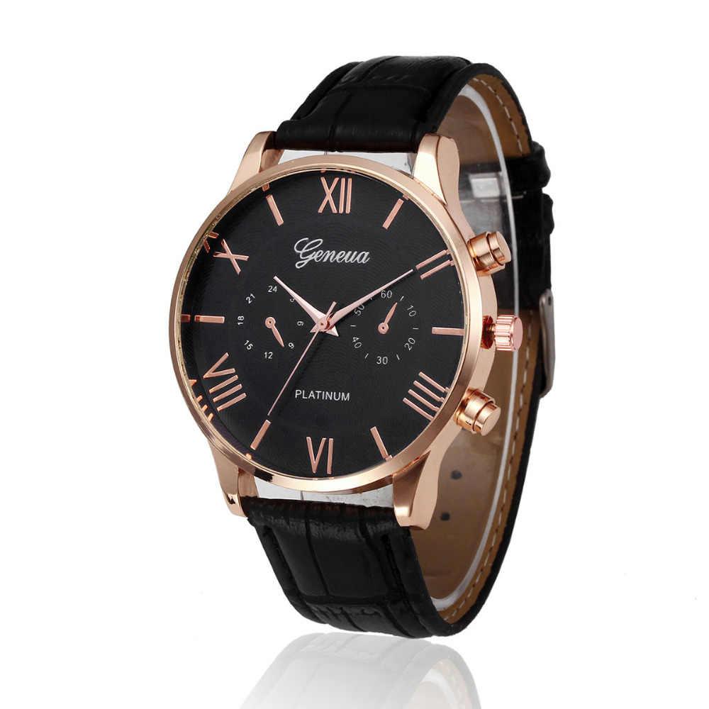 2018 ใหม่แบรนด์ Mens Luxury PU หนังนาฬิกาข้อมือของขวัญนาฬิกาควอตซ์ส่วนลด Relogio Masculino P30