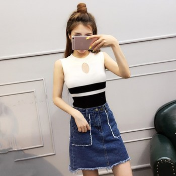 Fashion 2019 New Spring Summer Women Sweater Knitted Sleeveless Top O-Neck Sexy Slim Button Casual Sweaters Tops