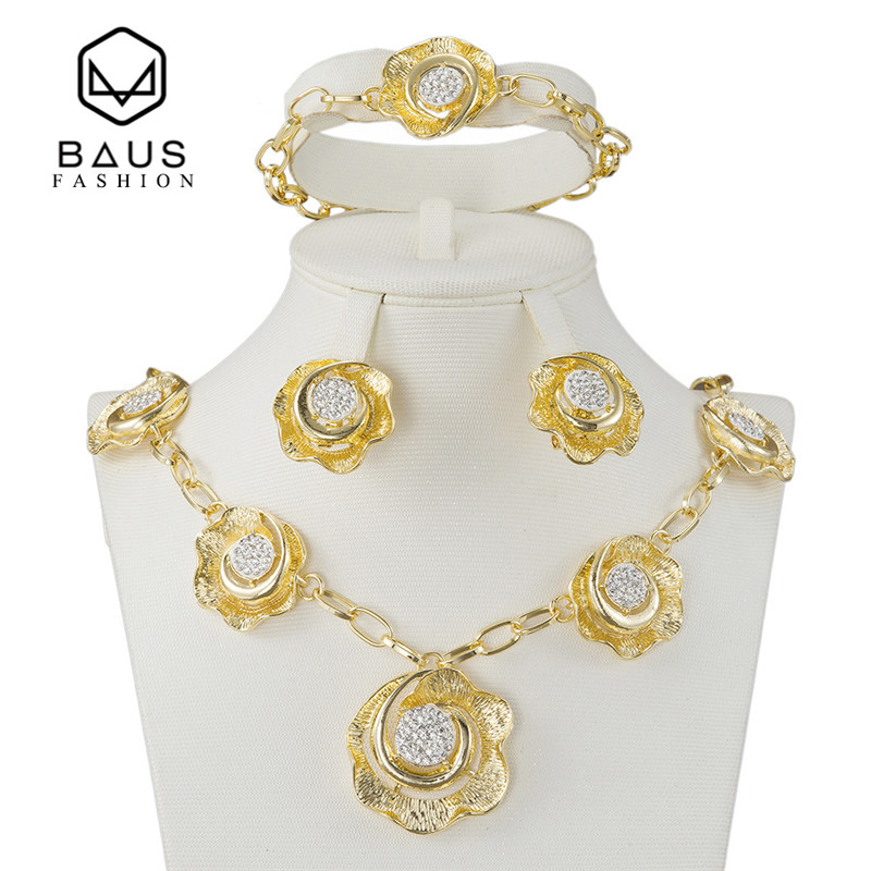 BAUS Fashion Italy classic crystal flower earrings pendants bracelets three sets of India brides Ethiopia African Jewelry suits