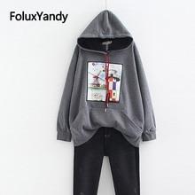 Korean Style Print Hoodies Women Pullovers Warm Thick Loose Pocket Casual Plus Size Sweatshirt SWM1281