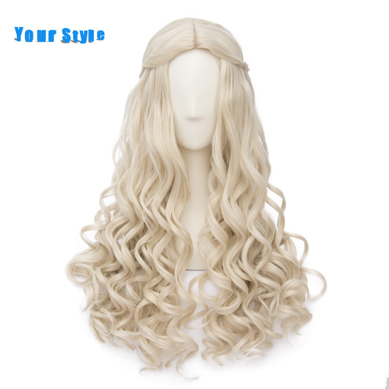 Your Style Long Curly Blonde Cosplay Womens Wigs With Braid Costume Party Synthetic Heat Resistant Fake Natural Hair