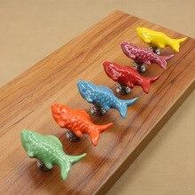 Ceramic handle European cabinet drawer pumpkin goldfish cartoon color rural single hole free shipping