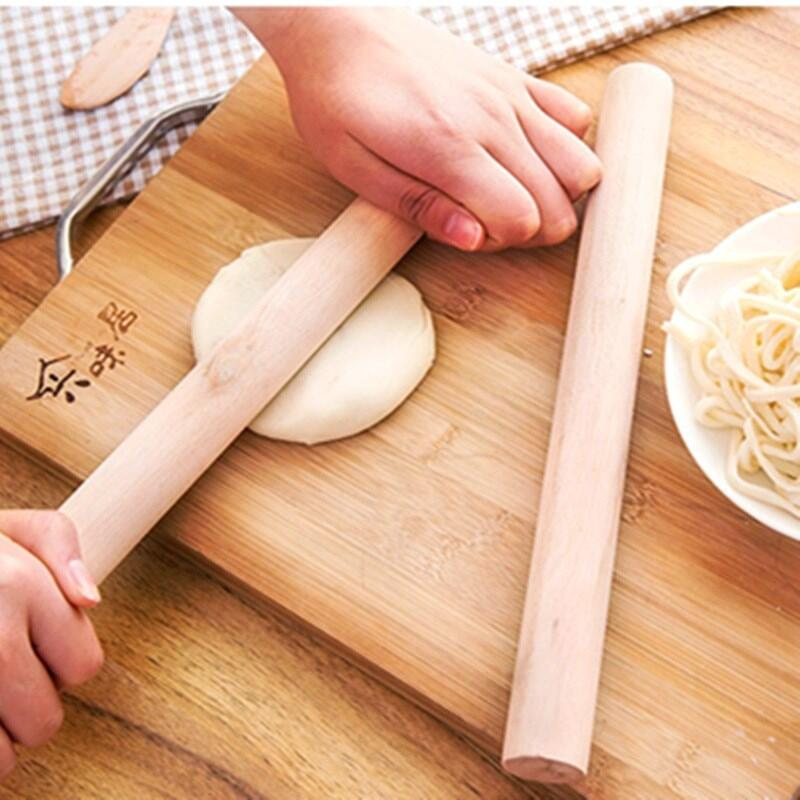 Natural Wooden Rolling Pin Fondant Cake Decoration Kitchen Tool Durable Non Stick Dough Roller LX4375