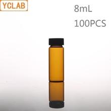 YCLAB 100 шт. 8 мл стеклянная бутылка для образцов коричневый Янтарный винт с пластиковой крышкой и PE Pad лабораторное химическое оборудование