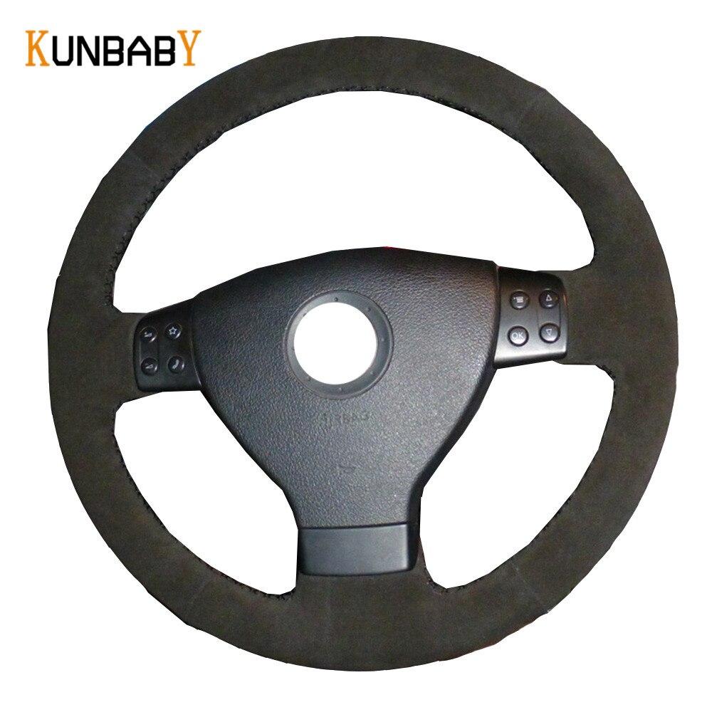 KUNBABY housse de volant de voiture en daim noir pour Volkswagen Golf 5 Mk5 VW Passat B6 Jetta 5 Mk5 Tiguan 2007-2011