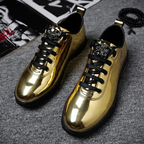 2018 New Style Man Fashion Outdoor Casual Sneaker Lace Up Vulcanized shoes Gold Color Flat Male Shoes Teenage 16-in Men's Vulcanize Shoes from Shoes    1