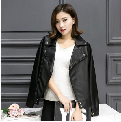 2018 Womens Spring And Autumn Leisure Jackets Turn Down Collar Casual Female Faux Leather Coats S/L Black Leather Coats K603