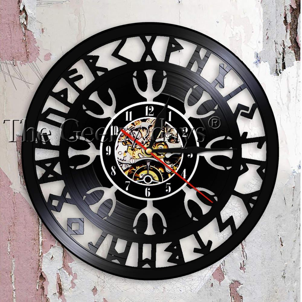 Mysterious Norse Magick Viking Compass Wall Clock Norse Talisman Aegishjalmr Helm Of Awe Protection Symbol Vinyl Record Clock