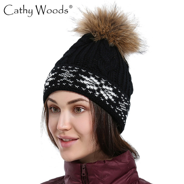 360092fd96f Women s Winter Hats Fox Fur Ball Cap Pom Poms Winter Hat For Women Girl  s