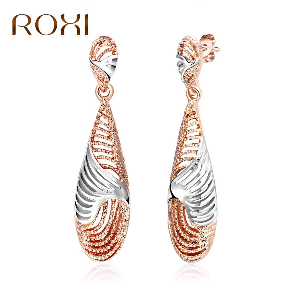 ROXI Long Dangle Drop Earrings Hollow Rose Gold Color Silver Evening Party Earrings for Women Fashion Jewelry boucle doreille