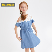 BalabalaBaby Girl Dress with Animals Princess short Sleeve Dresses Children summer Clothing for Kids