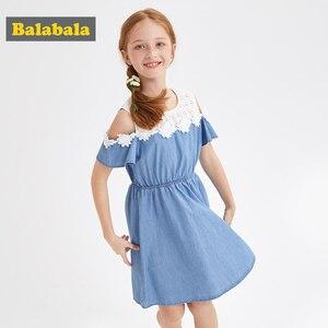 Image 1 - BalabalaBaby Girl Dress with Animals Princess short Sleeve Dresses Children summer Clothing for Kids