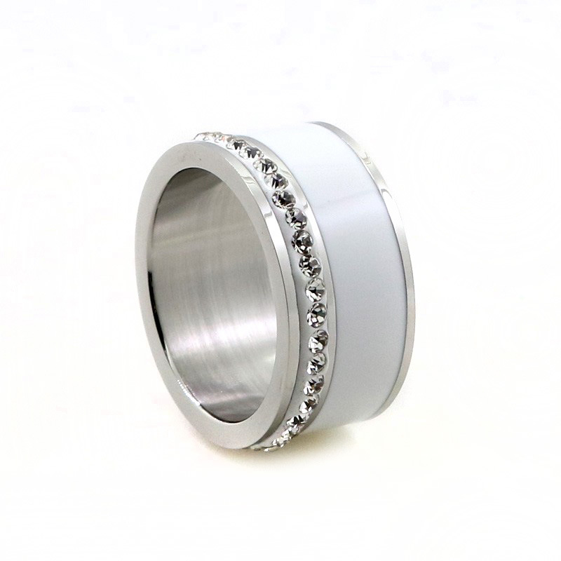 tyme white plastic ring fashion popula stainless steel gold color ring titanium steel couple silver rings fashion jewelry - Plastic Wedding Rings