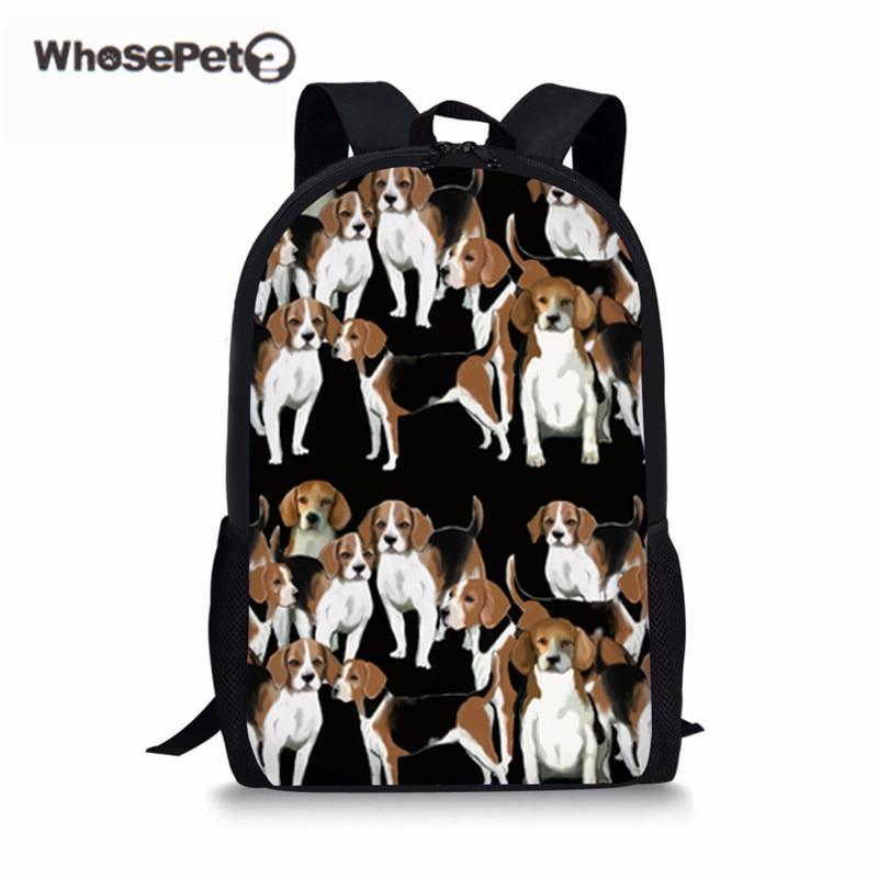 WHOSEPET Childrens School Bag For Boys Girls Basset Hound Printed Schoolbag Backpack Kids Rugzak Female Satchel Escuela Mochila