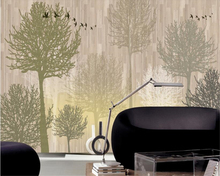 beibehang Modern personality decoration wall paper fashion hand-painted woods Nordic sofa TV background frescoes 3d wallpaper