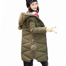 New Fur Ball Army Green Fashion Winter Jacket Women Warm Down Parkas Long Female Jacket Coat Ladies Down Cotton Outerwear(China)