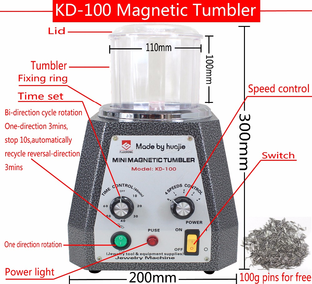 KD-100 Magnetic Tumbler with 100g pins for free, Polishing Machine Mini Magnetic Jewelry Polisher Tumbler Jewelry Tools brand new magnetic tumbler 130mm jewelry polisher