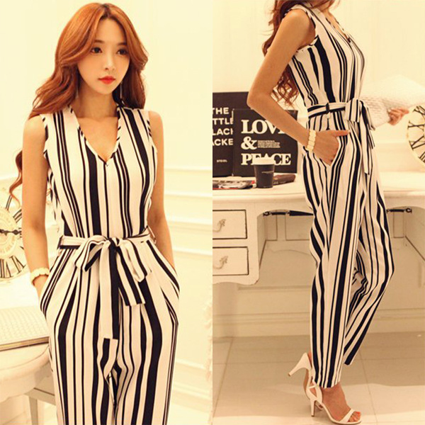 a1a18cdeb01 Long Rompers Women Formal Jumpsuit Elegant Black And White Stripe Rompers  Womens Jumpsuit Macacao Feminino Longo Playsuit Pants