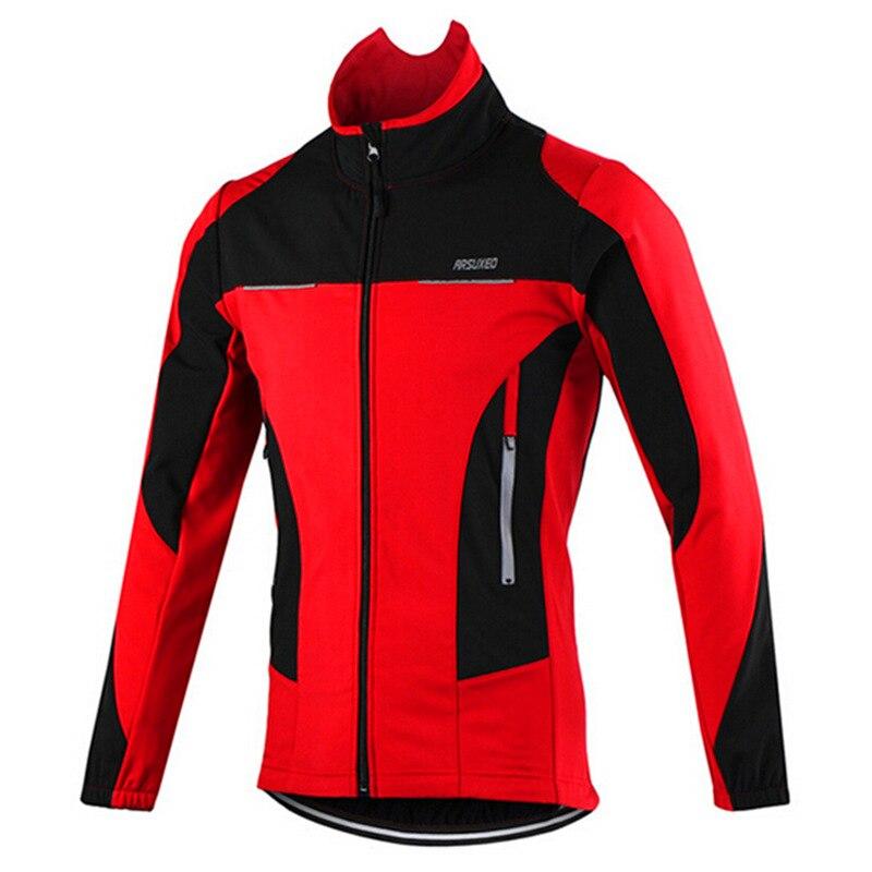 Arsuxeo Men's Winter Thermal Windproof Cycling Jacket MTB Bike Bicycle Windbreaker Waterproof Sports Clothing – Red Blue Orange