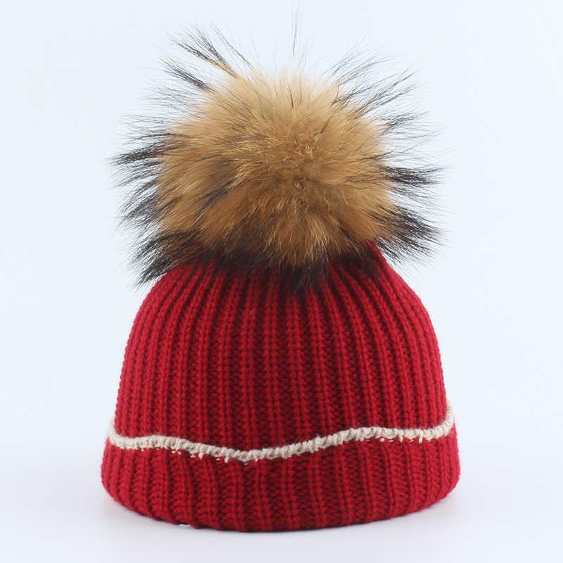 Crianças Chapéus de Inverno Pele Real Chapéu Feito Malha Pompom Gorros Quentes Para Crianças Meninas E Meninos 2019