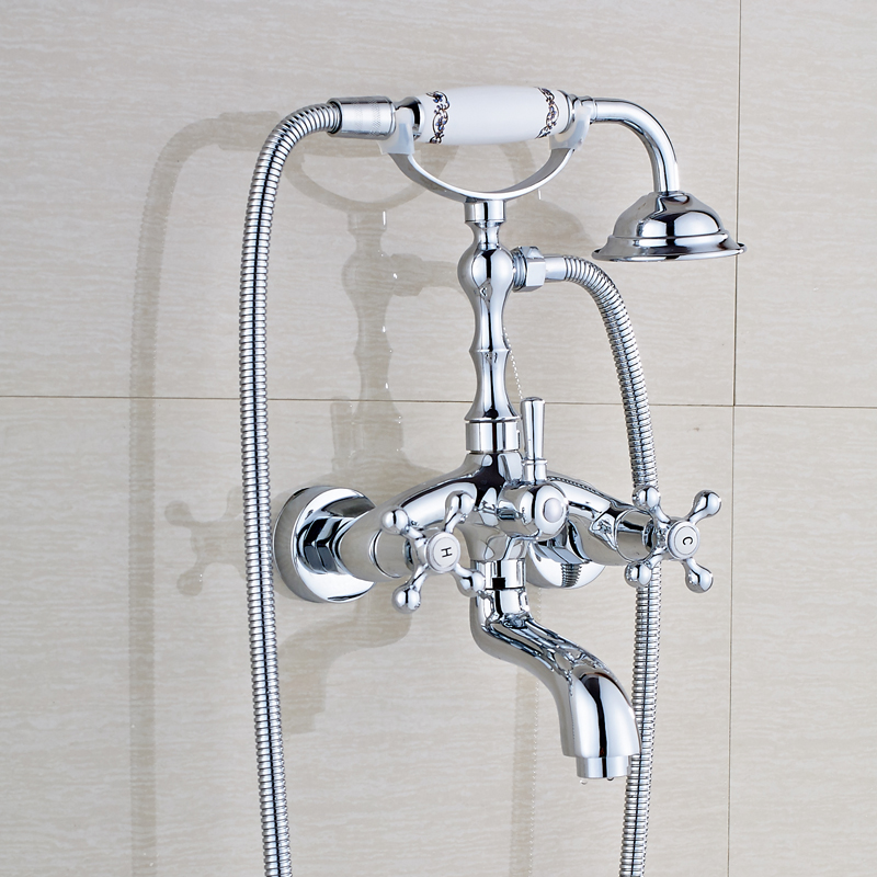 Chrome Polished Bathroom Tub Faucet Double Handles Mixer Tap with Handheld Shower Wall Mounted new arrival contemporary chrome finish bathroom tub faucet set w abs handheld shower 3pcs mixer tap bathtub faucet deck mounted