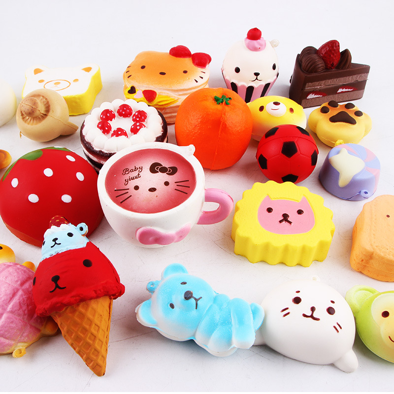 Squishy Slow Rising 10 Pcs/pack Food Squishes Pendant Donut Charm Anti Stress Kawaii Squishies Stretchy Squeeze Toy #3