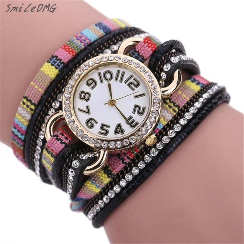 SmileOMG New Fashion Women Dream Crystal Rivet Bracelet Braided Winding Wrap Quartz WristWatch Christmas Gift ,Sep 19