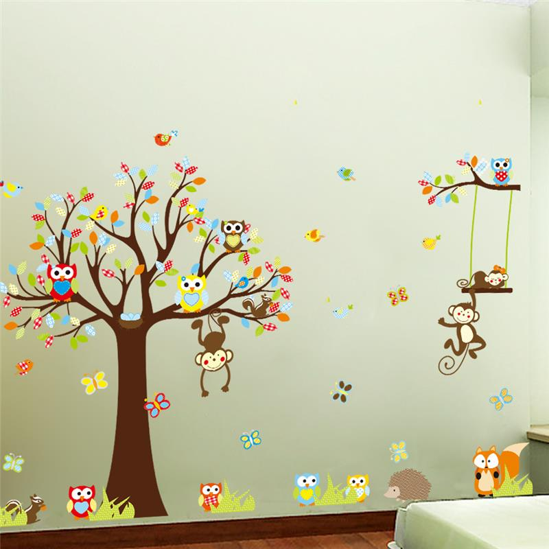 Lovely Squirrel On Long Tree Branch Wall Sticker 3D Art for Kid Room Home Decor