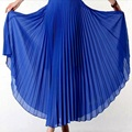 New 2016 autumn bohemian pleated maxi skirts womens summer solid color high waist chiffon long skirt tutu elegant ladies black