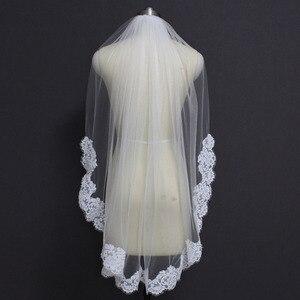 Image 3 - Real Photos Elegant Partial Lace Edge Short Wedding Veil One Layer White Ivory Bridal Veil with Comb Veu de Noiva