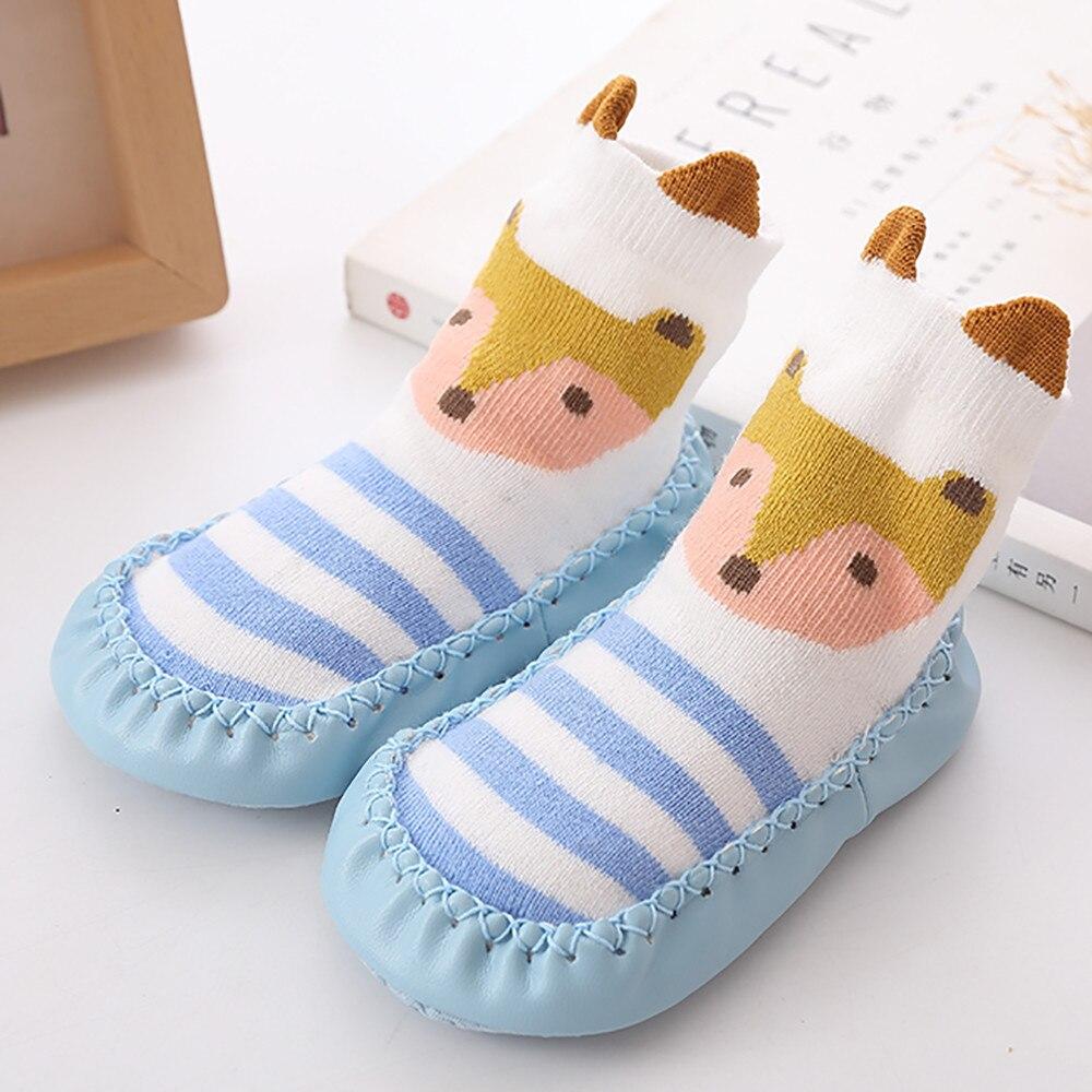 Весна-Осень-зима, носки для малышей с героями мультфильмов детские хлопковые нескользящие носки-тапочки с кожаной подошвой детские носки для новорожденных - Цвет: Sky Blue