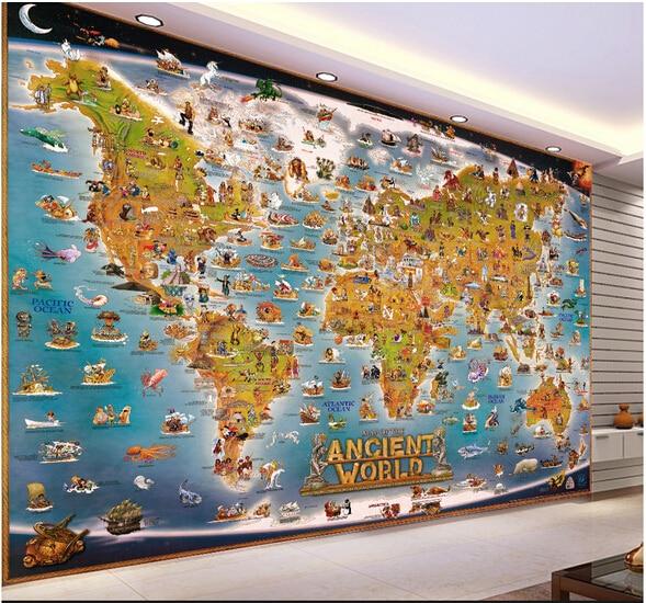 Custom papel DE parede infantil large murals aquarium world map for children room sitting room wall vinyl which papel DE parede велосипед schwinn slik chik 2015