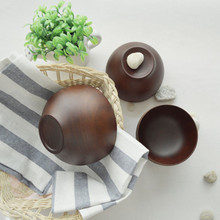 Natural Wood Kitchen Tableware Containers Wooden Bowl Coffee /Ramen  Ice Cream/Salad/ Rice/ Soup