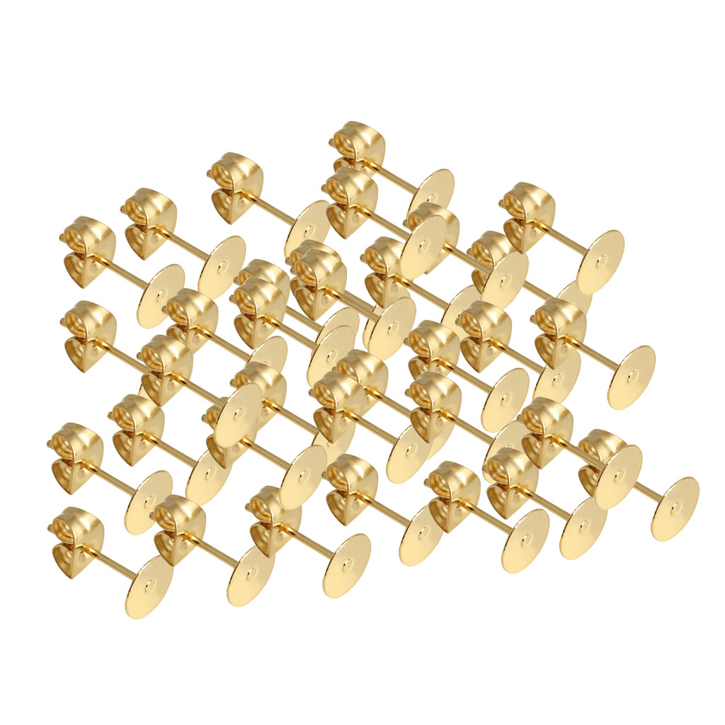 300 Packs 4mm Round Flat Stud Earring Posts with Back Jewelry Making Supplies and Crafting for Adult