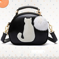 Cat Printing Bag Ladies Crossbody Bags Circle Women Leather Handbags with Fur Ball Women Messenger Bag