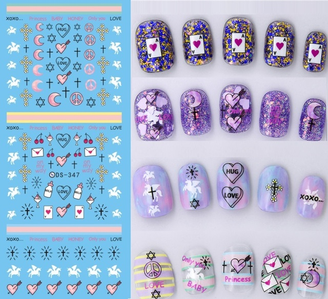 Rocooart DS308 Water Transfer Nails Art Sticker Harajuku Elements Green Peacock Feather Nail Wraps Sticker Manicura Decal