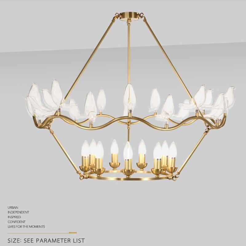 lowest price 806f9 8e153 US $741.0 5% OFF|Glass bird single chandelier lighting modern gold  chandelier lights ceiling lamp for living room Hotel lobby lighting-in  Chandeliers ...