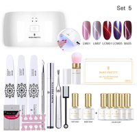 BORN PRETTY 24W Dryer Lamp Dust Brush French Stickers Base Top Coat Nail Art Set Manicure Tools