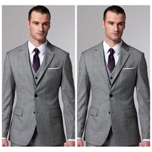 Light Grey 2019 Custom Mannen Wedding Tuxedos Tailor Made Formele Party Business Prom Pakken Slim Aangepaste (Jacket + Vest + broek)(China)